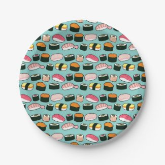 Yummy Sushi Party Fun Illustrated Pattern Paper Plate
