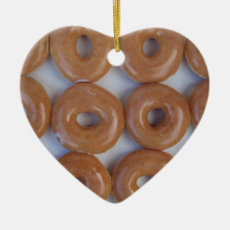 YUMMY SWEET DONUTS Double-Sided HEART CERAMIC CHRISTMAS ORNAMENT