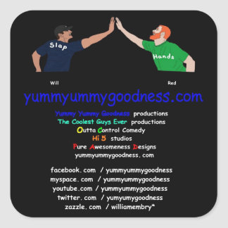 Yummyummygoodness.com Will and Red Square Sticker