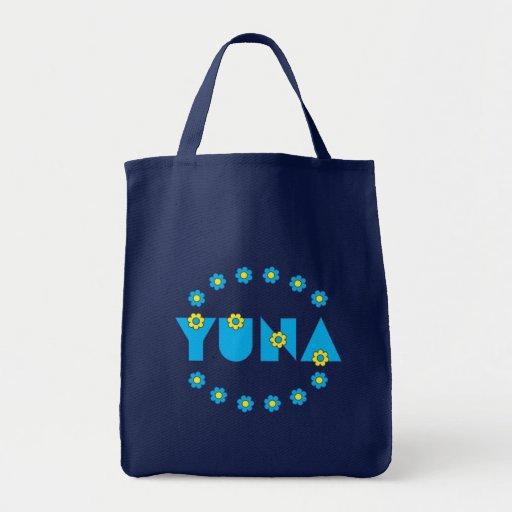 Yuna en el azul de Flores Bolsa De Mano
