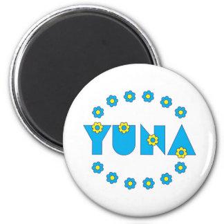 Yuna in Flores Blue Refrigerator Magnet