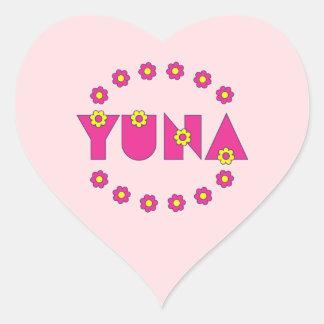 Yuna in Flores Pink Heart Sticker