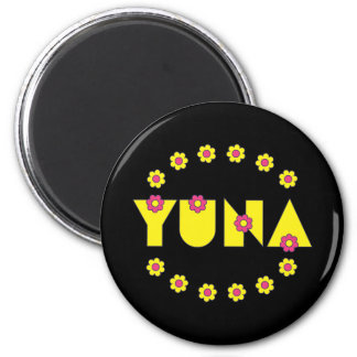Yuna in Flores Yellow Refrigerator Magnets