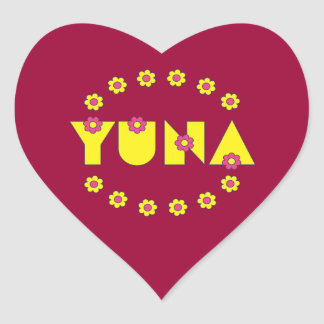 Yuna in Flores Yellow Heart Sticker