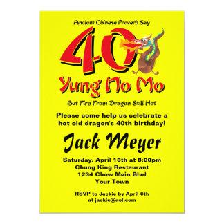 Yung No Mo 40th Birthday 5x7 Paper Invitation Card