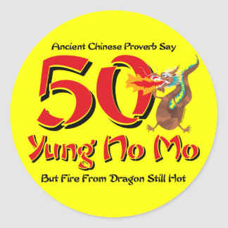 Yung No Mo 50th Birthday Round Sticker