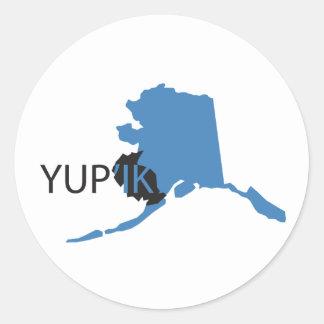 Yupik azul etiqueta redonda