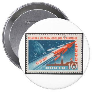 Yuri Gagarin Vostok 1 es 1r hombre en espacio Pin Redondo De 4 Pulgadas