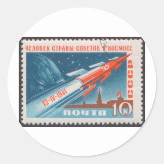 Yuri Gagarin Vostok 1 is 1st Man in Space Round Stickers
