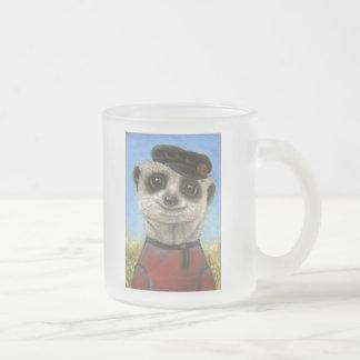 Yuri the meerkat frosted glass coffee mug