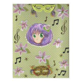 Yuriko tímido con el fondo del collage postales