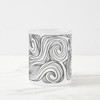 Yurkanin Abstract Expression Black and White 10 Oz Frosted Glass Coffee Mug