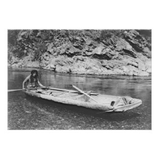 Yurok Canoe Traveling the Trinity River 1923 Poster