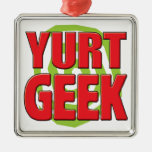 Yurt Geek Square Metal Christmas Ornament