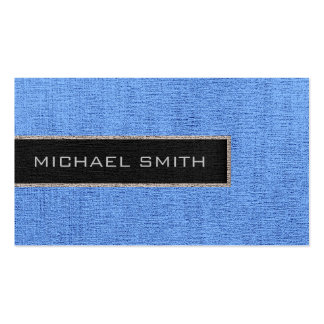 Yute rústico de la arpillera azul del monograma tarjetas de visita