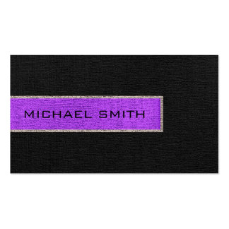 Yute rústico de la arpillera negra y púrpura del tarjetas de visita