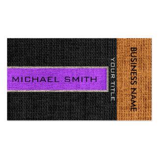 Yute rústico de lino de la arpillera púrpura y tarjetas de visita