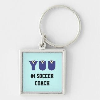 Yuu en azul del fútbol llavero cuadrado plateado