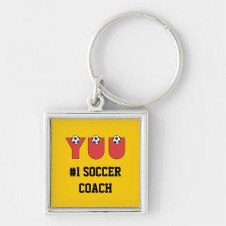 Yuu en rojo del fútbol llavero cuadrado plateado