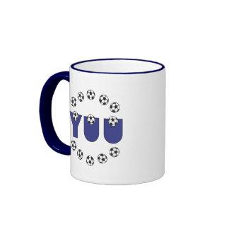 Yuu in Soccer Blue Ringer Coffee Mug