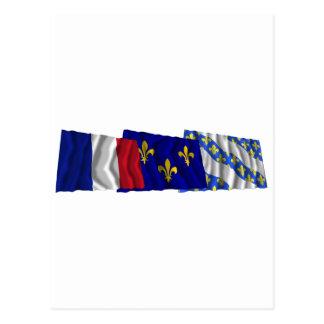 Yvelines, Île-de-France & France flags Postcard