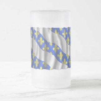 Yvelines waving flag frosted glass beer mug