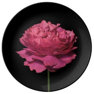 Yves Piaget Pink Rose on Black Porcelain Plate