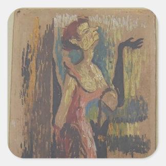Yvette Guilbert by Henri de Toulouse-Lautrec Square Stickers