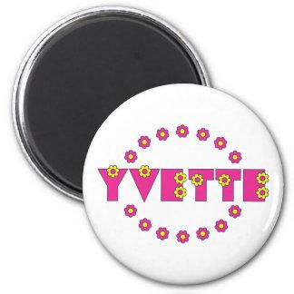 Yvette in Flores Pink Fridge Magnets