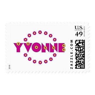 Yvonne en el rosa de Flores Estampilla