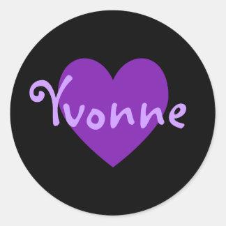 Yvonne in Purple Classic Round Sticker