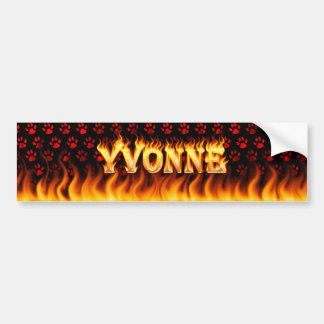 Yvonne real fire and flames bumper sticker design.