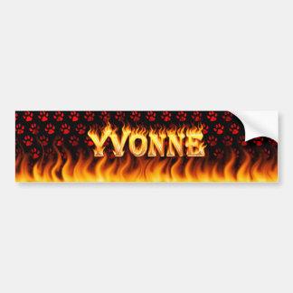 Yvonne real fire and flames bumper sticker design. car bumper sticker