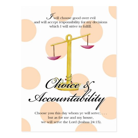 YW Value Card -Choice and Accountability