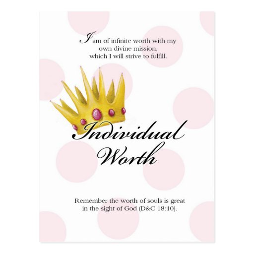 YW Value Card - Individual Worth Post Cards