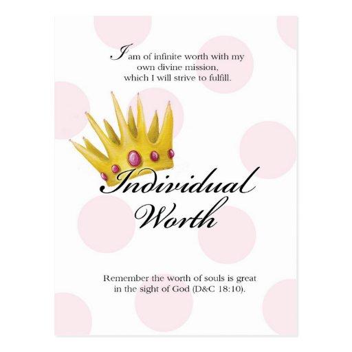 YW Value Card - Individual Worth Postcard