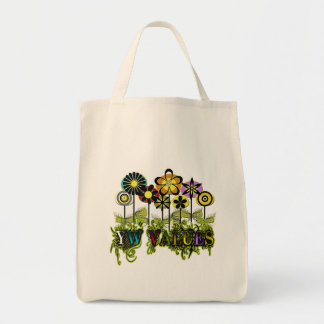 YW Value Flowers Grocery Tote Bag