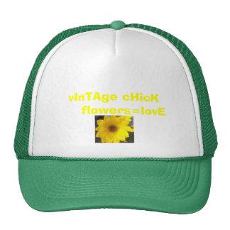 ywlloe flower-1, vInTAge cHicK     flowers=lovE Trucker Hat