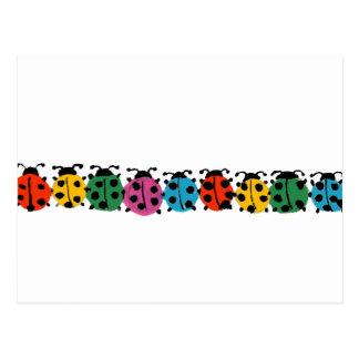 YY- Colorful Ladybugs Art Postcard