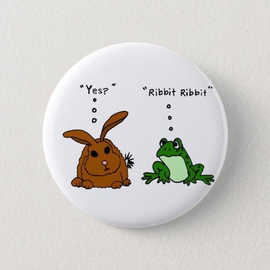 YY- Funny Rabbit and Frog Cartoon Pinback Button