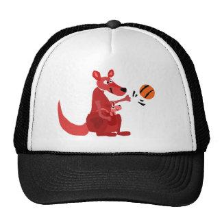 YY- Kangaroo Mother and Baby with Basketball Trucker Hat