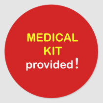 z14 - Medical Kit Provided. Classic Round Sticker