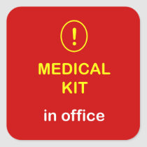 z2 - Medical Kit In Office. Square Sticker