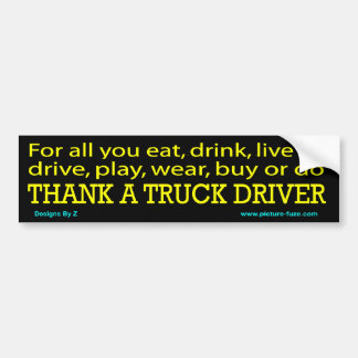 z agradece a un conductor de camión BS Etiqueta De Parachoque