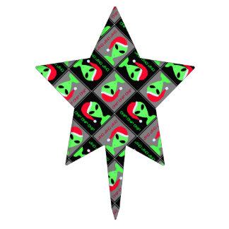 Z Alien Santa Pattern Funny Christmas Party Cake Topper