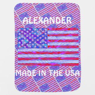 Z American Flag Made In The USA Custom Baby Fun Stroller Blanket