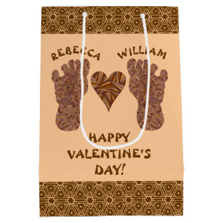 Z Bigfoot Sasquatch Track Happy Valentines Day Medium Gift Bag