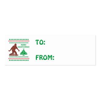 Z Bigfoot Walking Sasquatch Christmas Gift Tag Mini Business Card
