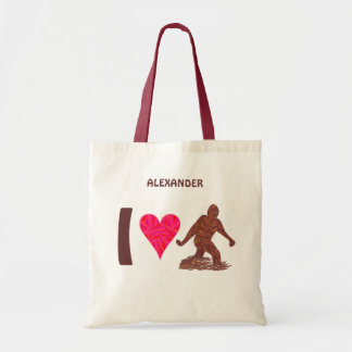 Z Bigfoot Walking Sasquatch I Heart Bigfoot Tote Bag