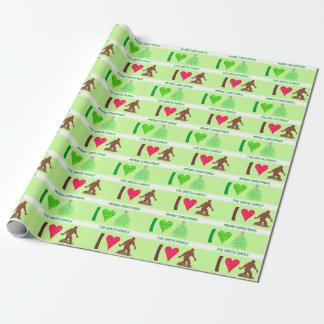 Z Bigfoot Walking Sasquatch I Heart Christmas Fun Wrapping Paper